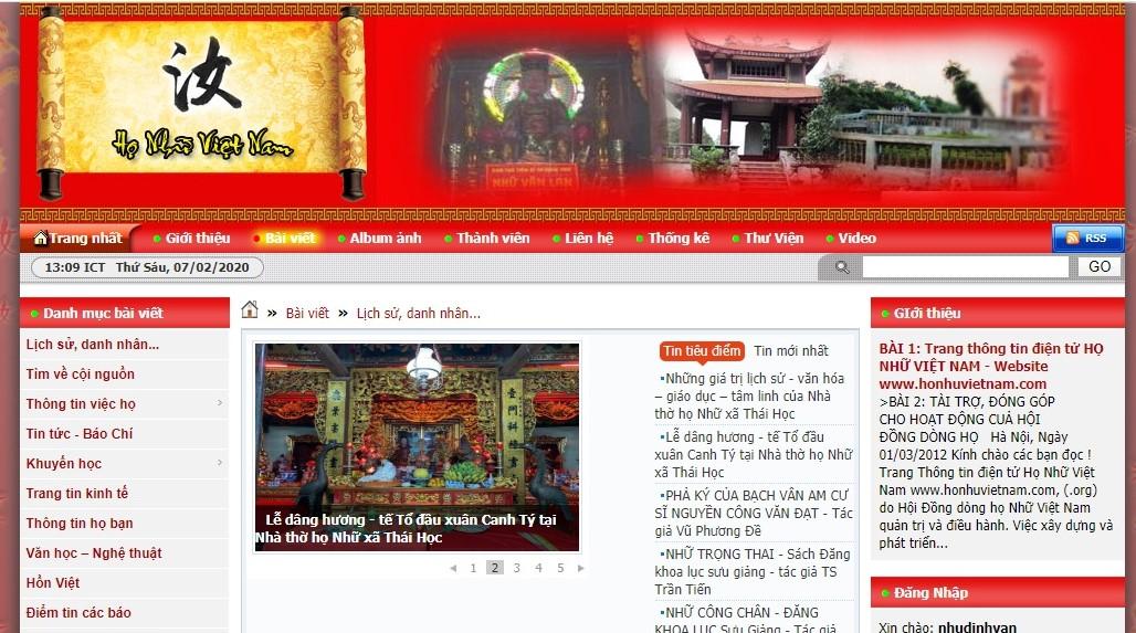 Trang thông tin điện tử Họ Nhữ: Diễn đàn thú vị và bổ ích của những người đam mê văn hóa dòng họ